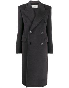 Двубортное пальто с воротником Saint laurent