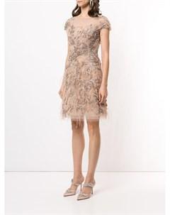 Декорированное платье мини Marchesa