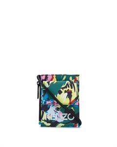 Клатч с ремешком на шею и цветочным принтом Kenzo