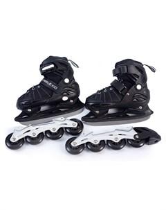 Раздвижные коньки ролики 2в1 UNI SKATE размер M черные Mobile kid