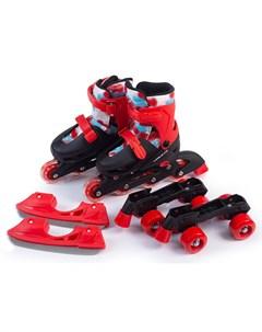 Раздвижные коньки ролики 3в1 TWIN SEASONS размер S красные Mobile kid