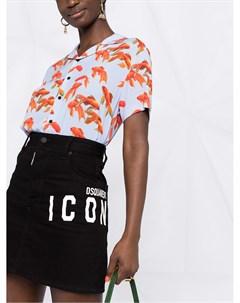 Джинсовая юбка с вышивкой Dsquared2