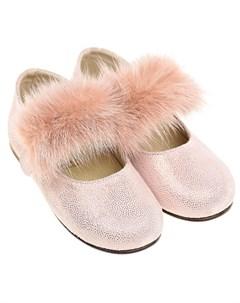 Розовые туфли с отделкой из меха норки детские Baby walker