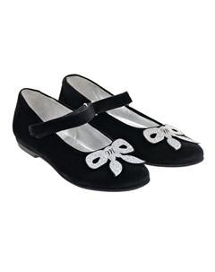 Черные туфли с серебристым бантом детские Monnalisa
