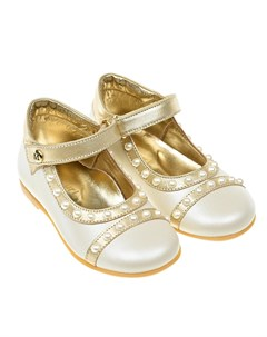 Кремовые туфли с перламутровыми бусинами детские Missouri