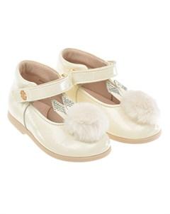 Кремовые туфли с меховым помпоном детские Florens