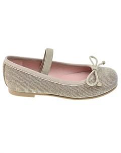 Золотистые туфли с перемычкой детские Pretty ballerinas