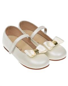Белые кожаные туфли с атласным бантом детские Baby walker