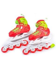 Раздвижные коньки ролики 2в1 UNI SKATE размер L красные Mobile kid