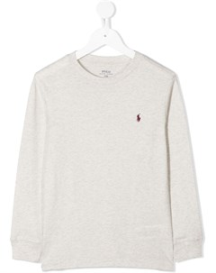 Рубашка с длинными рукавами и вышитым логотипом Ralph lauren kids