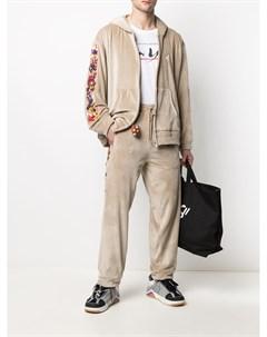 Вельветовые брюки с кулиской и вышивкой Doublet