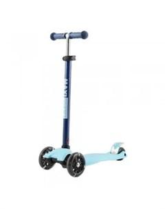 Самокат трехколесный со светящимися колесами Junior голубой Maxiscoo