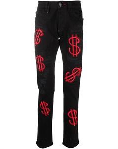 Прямые джинсы с вышивкой Philipp plein
