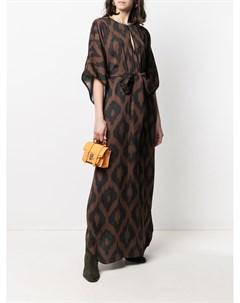 Платье макси с графичным принтом и поясом Bazar deluxe