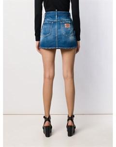 Джинсовая юбка с эффектом потертости Dsquared2