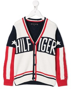 Кардиган вязки интарсия с логотипом Tommy hilfiger junior