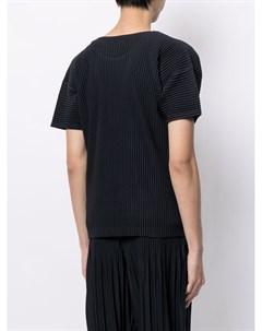 Плиссированная футболка с круглым вырезом Homme plissé issey miyake