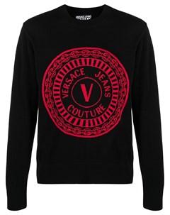 Пуловер вязки интарсия с логотипом Versace jeans couture