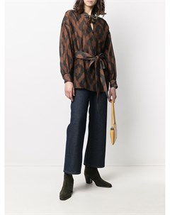 Блузка с геометричным принтом и длинными рукавами Bazar deluxe