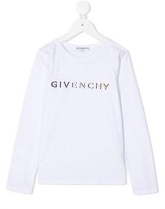 Топ с длинными рукавами и вышитым логотипом Givenchy kids