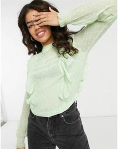 Шалфейно зеленая блузка с оборками Pimkie