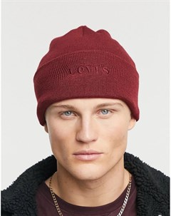 Бордовая шапка бини с логотипом Levi's®