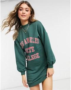Зеленое платье свитшот в университетском стиле Pimkie