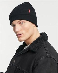 Черная шапка бини с красным ярлыком Levi's®