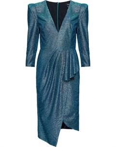 Приталенное платье миди с эффектом металлик Patbo