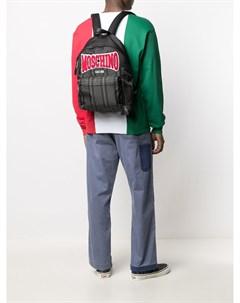 Полосатый рюкзак с нашивкой логотипом Moschino