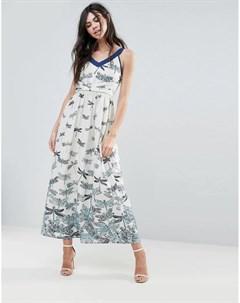 Платье макси с принтом стрекоз Uttam boutique