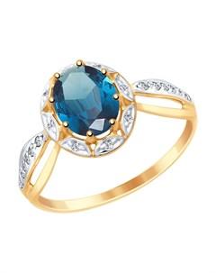 Кольцо из золота с синим топазом и фианитами Sokolov