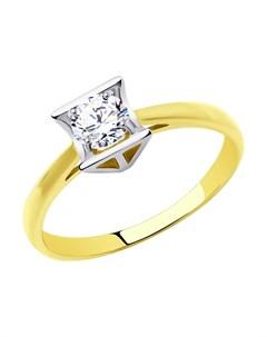 Кольцо из желтого золота с родированием со Swarovski Zirconia Sokolov