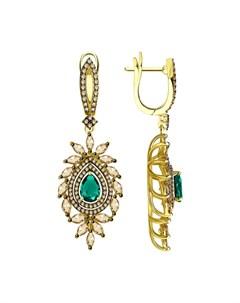 Серьги из желтого золота с бриллиантами и изумрудами Sokolov