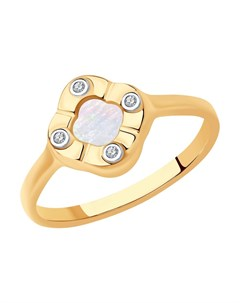 Кольцо из золота с бриллиантами и перламутром Sokolov