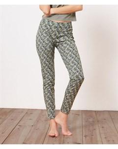 Хлопковые брюки с растительным принтом ISAAC Etam