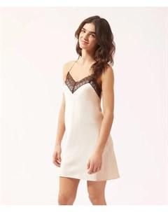 Атласное платье комбинация с контрастным кружевом LILYA Etam