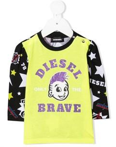 Топ из джерси с блестящим логотипом Diesel kids