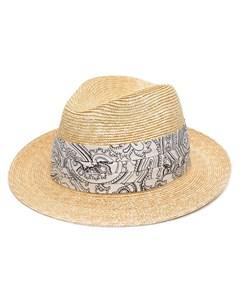 Соломенная шляпа с узором пейсли Etro