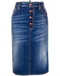 Джинсовая юбка карандаш с эффектом потертости Dsquared2