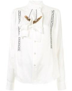 Рубашка с вышивкой и манишкой с оборками Toga
