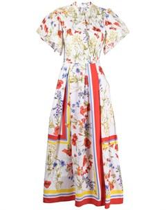 Платье миди с цветочным принтом и складками Sara roka