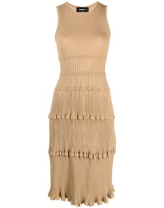 Трикотажное платье миди в рубчик Dsquared2