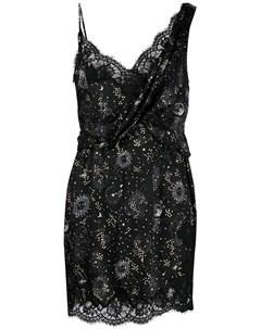 Платье комбинация с драпировкой и принтом Ermanno ermanno