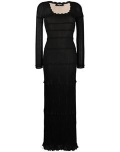 Трикотажное платье макси с оборками Dsquared2