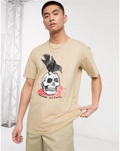 Светло бежевая футболка с принтом Blood brother