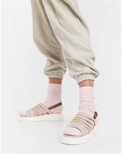 Бежевые замшевые массивные сандалии с открытой пяткой silvia Fiorelli