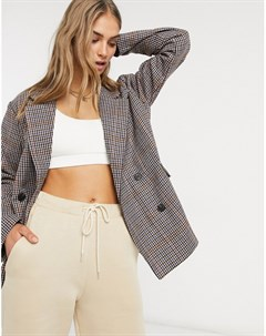 Двубортный пиджак в клетку коричневого цвета Native youth