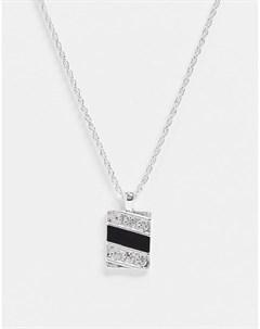 Серебристое ожерелье с прямоугольной подвеской с эмалью и декором Wftw