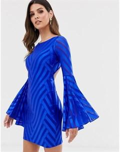 Платье мини с открытой спиной и расклешенными рукавами City goddess